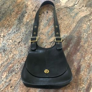 Vintage Coach Black Saddle Purse